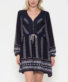 Love this Navy Geometric Stripe Peasant Dress on #zulily! #zulilyfinds