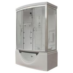 Steam Planet 59 in. x 33 in. x 88 in. Steam Shower Enclosure Kit with Whirlpool Tub in White-MK557LW at The Home Depot