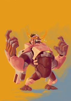 A Fanart of Winston, from Overwatch. I really enjoyed drawing the pose, it seems like he is holding a pair of invisible guns. Please, comments and critiques are welcome. Overwatch Winston, Junkrat And Roadhog, There Goes My Hero, Overwatch Wallpapers, Geek Culture, Game Art, Art Reference, Illustration, Concept Art