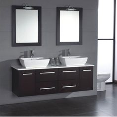 Our collection of Cambridge modern bathroom vanities http://www.listvanities.com/cambridge-bathroom-vanities.html is a perfect fixture for any bathroom. The Cambridge 63 inch Solid Wood & Porcelain Double Sink Vanity Set will meet your needs if you share the bathroom during busy mornings. This dual sink vanity is made of solid oak wood and is a modern wall mount vanity. Two can complete the morning routine, one at each of the white porcelain vessel sinks that sit on the  smooth porcelain top