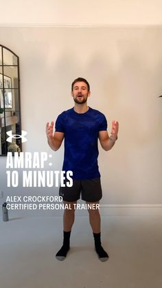 Continue staying active at home with this 10 minute AMRAP workout. You Fitness, Fitness Goals, Fitness Motivation, Health Fitness, Amrap Workout, Gym Workouts, At Home Workouts, Certified Personal Trainer, No Equipment Workout