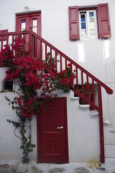 Typical colorful Mykonos doorway