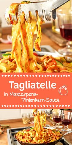 Tagliatelle, Zucchini und Tomaten in einer wunderbar cremigen Mascarpone-Sauce… Tagliatelle, zucchini and tomatoes in a wonderfully creamy mascarpone sauce. The whole is topped by the nutty pine nuts. Veggie Recipes, Pasta Recipes, Cooking Recipes, Healthy Recipes, Tasty, Yummy Food, Healthy Drinks, Soul Food, Food Inspiration