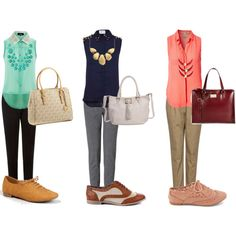 statement necklaces, tapered pants, and oxfords