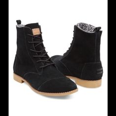 TOMS black suede alpa boots new size 7 Suede boots size 7. Price is firm. TOMS Shoes Combat & Moto Boots