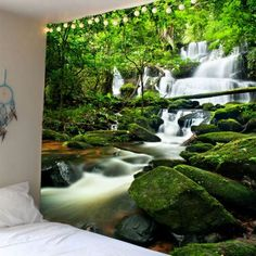 Waterfall Forest Waterproof Wall Tapestry