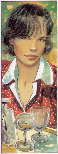 Illustration of Cécile [one of his French characters] -- by Jean-Pierre Gibrat (b.1954, French)