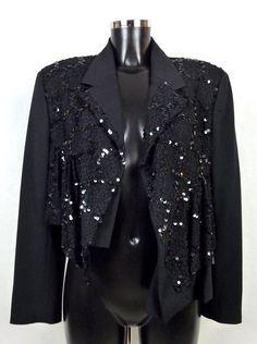 Veste courte noire en laine brodée sequins Comme Des Garçons Vintage 90s Taille M (38) de la boutique TheNuLIFEshop sur Etsy