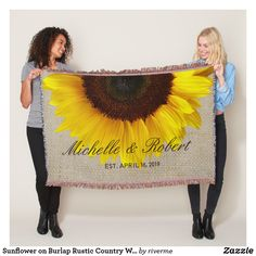 Sunflower Wedding Burlap Rustic Country Pretty Personalized Custom Throw Cover Gift Keepsake #sunflower #wedding #gift