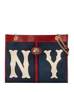 637120b656 Gucci Linea Rajah Large Suede Tote Bag with NY Yankees MLB Patch Suede Tote  Bag,
