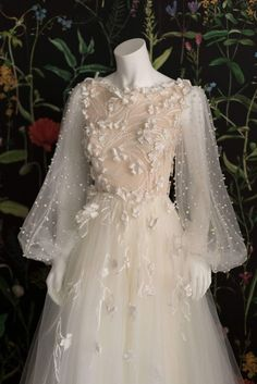 ethereal pearl studded wedding dress with blouson sleeves d2fe280cbbc2