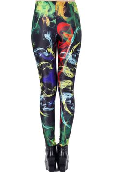 Colorful Mist Print Leggings #Romwe