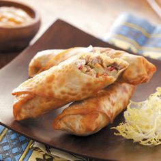 "Effortless Egg Rolls add a little cooked cabbage mix form cole slaw mix Can bake at 400"" for about 15 minutes"