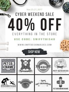 Ready for CYBER MONDAY?  Come sniff out this deal of the year!  Are you pet business startup? Or looking for a nifty and quick re-brand to make a 'PAWSOME' impression? Look no further. We've got your covered.  Hurry this offer end midnight on Monday, November 27th! II #petbusinesslogo I #PetBusinessPromotion I #readymadepetlogo I #premadepetlogo