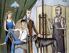 Portrait de famille - 1993 oil on canvas - 232 x 301 cm by Bernard BUFFET ( Illustrator, Unusual Art, French Artists, Magazine Art, Paris, Art Studios, Family Portraits, Art History, Oil On Canvas