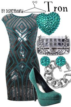 Disney Bound tron inspired teal and silver dress
