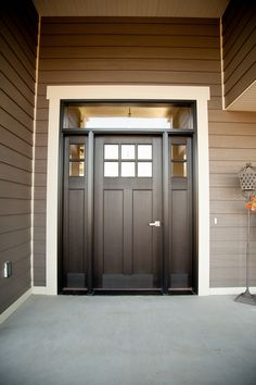 Exterior Doors | six-lite, craftsman style, fiberglass door, stained ebony, with transom and double sidelites | Bayer Built Woodworks, Inc.
