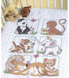 Dimensions Quilt Stamped Cross Stitch Kit Animal Babies. I made this for a friend's granddaughter.