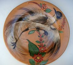 "Old vintage Mexican Tonala Tlaquepaque 15 3/4"" grabber type charger plate signed"