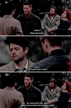 Dean asking Cas to look after Sammy