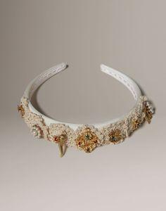 Crochet macramé satin headband Women - Jewellery & bijoux Women on Dolce Online Store United Kingdom - Dolce & Gabbana Group