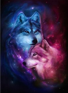 Space Wolf Diamond Painting Kit makes beautiful diamond art for animal lovers! This DIY diamond painting kit has everything you need to create a masterpiece: Anime Wolf, Pet Anime, Anime Animals, Cute Animals, Anime Art, Wolf Love, Cute Animal Drawings, Cute Drawings, Drawing Animals