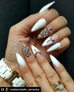 "716 Likes, 2 Comments - Dawn (@10_perfectnails) on Instagram: ""#Repost @mademoiselle_carramba with @repostapp ・・・ #nails #new #white #gold #crystals #diamonds…"""