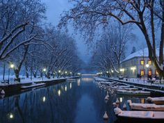 On a Winter Night - Annecy, France - Photo by Surat Iozowick | #Photography #Places #Winter |