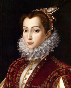 Scipione Pulzone (Gaeta, c. 1542 or 1543 – February 1, 1598), also known as Il Gaetano - portrait of an unknown woman, c.1575 - possibly, Vittoria Accoramboni Orsini (1557-85).