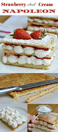 Strawberry and Cream Napoleon Recipe - This recipe is so easy to make, yet looks so elegant. It is perfect for special occasions or any other time - especially of July or Memorial day! Elegant Desserts, Köstliche Desserts, Sweet Desserts, Sweet Recipes, Delicious Desserts, Cake Recipes, Dessert Recipes, Napoleon Dessert, Napoleon Cake