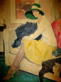 Woman with Green Hat sitting on a Sofa by George Telfer Bear (Scottish 1876–1973)....larger image...