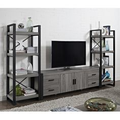 70-inch Urban Blend Ash Grey Wood TV Stand - Overstock Shopping - Great Deals on Entertainment Centers