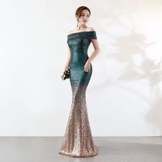 Vintage Off The Shoulder Gradient Green Sequin Long Vestidos De Festa Boat  Neck Mermaid Formal Evening 15da421a79eb