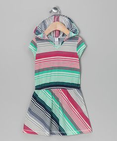 Take a look at this Turquoise Stripe Hooded Dress - Girls by Red Currant Kids on #zulily today!