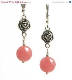 SALE - Rhodochrosite Earrings in Sterling Silver, Oxidized Sterling Silver Rose, Pink Earrings with Roses, Valentine's Day Gift, Pink Rhodoc on Etsy, $31.20