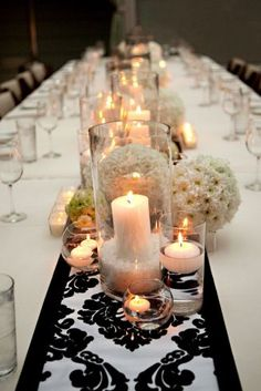 beautiful centerpieces with glass and candles