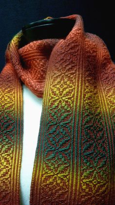 Handwoven Overshot Spice Scarf by Jayelle designs on Etsy. Gradient yarn for overshot pattern on solid ground.