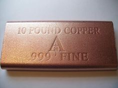 1 x 1 Kilo lb)Fine Copper Bar (Square Edge Style) . Silver went up only and gold only Why buy copper? Silver Investing, Buy Gold And Silver, Valuable Coins, Copper Bar, Bullion Coins, Treasure Boxes, 10 Pounds, Precious Metals, Dessert Recipes