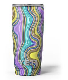 Bright Purple Teal and Mustard Yellow Color Waves Yeti Rambler Skin Kit from DesignSkinz