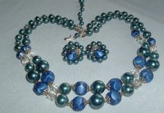 VINTAGE DOUBLE STRAND TEAL BLUE CELLULOID & GLASS BEAD NECKLACE EARRINGS SET #Unbranded