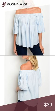 🆕SKYLAR Off Shoulder Top - SKY BLUE 100% polyester. Bellanblue Tops Blouses