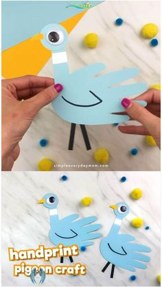 Mo Willems Inspired Handprint Pigeon Craft For Kids If your children love Don't Let The Pigeon Drive The Bus or the other pigeon children's books, they'll love making this simple handprint craft. It's a fun and easy craft for kids. #simpleeverydaymom #kidsactivities #kidscrafts #craftsforkids #childrensbook #preschool #preschoolactivities #preschoolers #preschoolcrafts #kindergarten #classroom #ideasforlids<br> Learn how to make this easy handprint pigeon craft inspired by children's book… Mo Willems, Paper Crafts For Kids, Easy Crafts For Kids, Craft Kids, Kids Diy, Quick Crafts, Creative Crafts, Craft Work, Mountain Crafts For Kids