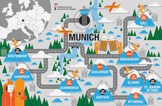 Munich map for skiers by John Devolle