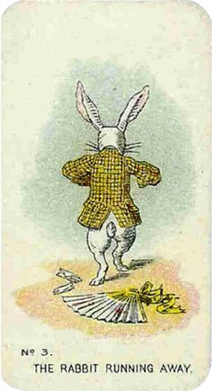 Alice in Wonderland Picture Card: No. 3 - The Rabbit Running Away, Carreras (England), 1930s