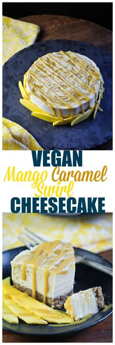 Vegan Mango Caramel Swirl Cheesecake. Homemade vegan mango caramel is swirled throughout a delicious coconut butter and cashew butter no-bake cheesecake made wi