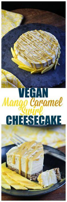 Vegan Mango Caramel Swirl Cheesecake