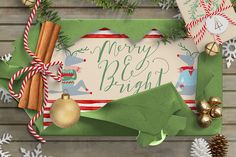 Merry and Bright Christmas Clipart by Creativeqube Design on @creativemarket