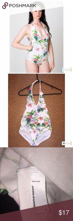 AA Tropical Pattern Halter Bodysuit Super cute! Barely worn American Apparel Tops