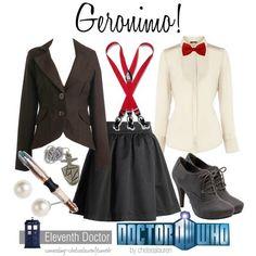 """Geronimo"" Doctor Matt Smith Doctor Who I love this. Doctor Who Cosplay, 11th Doctor Costume, Dr Who Costume, Doctor Who Outfits, Fandom Outfits, Eleventh Doctor, Nerd Outfits, Disney Outfits, Casual Cosplay"
