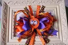 Items similar to Halloween Hair Bow on Etsy Halloween Hair Bows, Gift Bows, Ribbon Hair Bows, Hair Bands, Girl Things, Hairbows, 4th Of July Wreath, Ribbons, Hair Clips